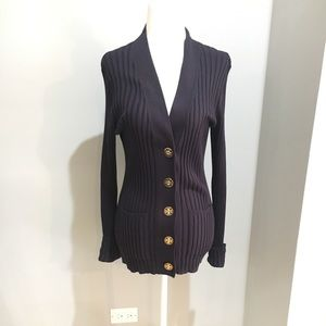 Tory Burch navy ribbed cardigan with pockets